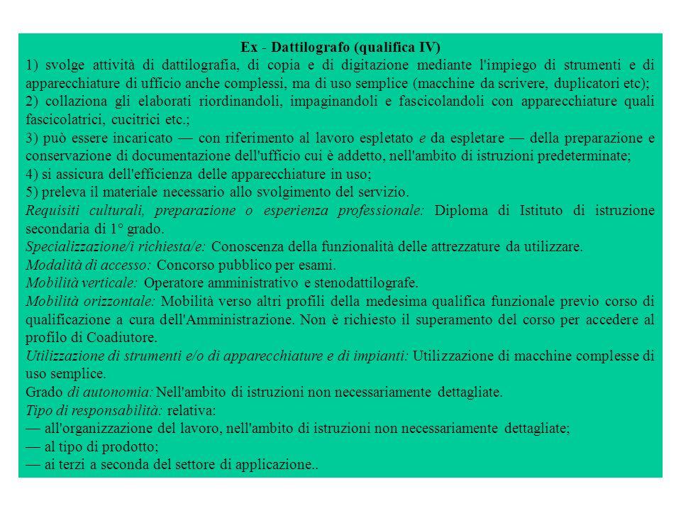 Ex - Dattilografo (qualifica IV) 1) svolge attività di dattilografia, di copia e di digitazione mediante l'impiego di strumenti e di apparecchiature d