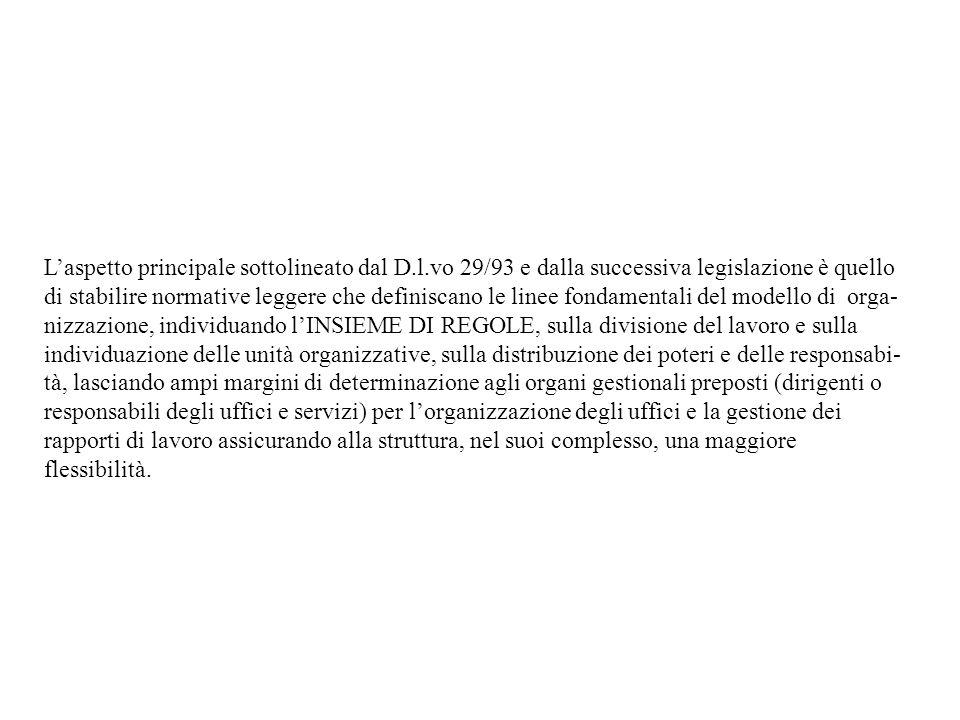 Laspetto principale sottolineato dal D.l.vo 29/93 e dalla successiva legislazione è quello di stabilire normative leggere che definiscano le linee fon