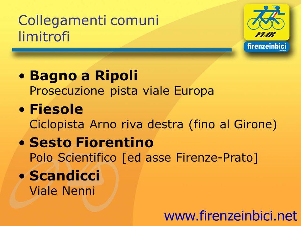 Collegamenti comuni limitrofi Bagno a Ripoli Prosecuzione pista viale Europa Fiesole Ciclopista Arno riva destra (fino al Girone) Sesto Fiorentino Pol