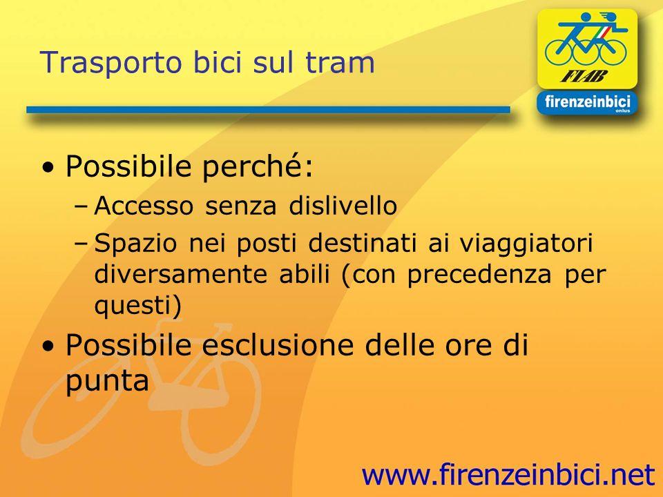Trasporto bici sul tram Possibile perché: –Accesso senza dislivello –Spazio nei posti destinati ai viaggiatori diversamente abili (con precedenza per