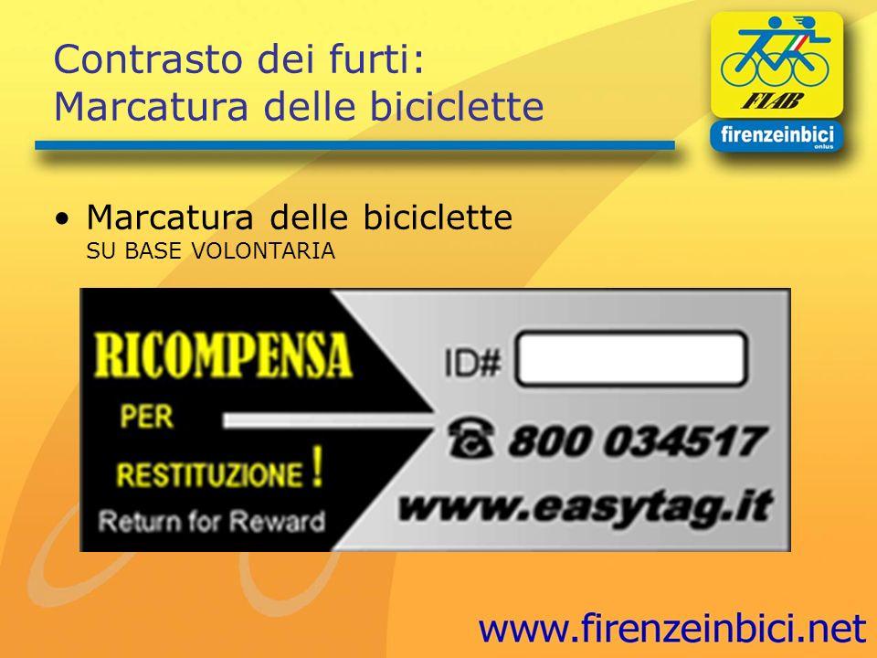 Contrasto dei furti: Marcatura delle biciclette Marcatura delle biciclette SU BASE VOLONTARIA