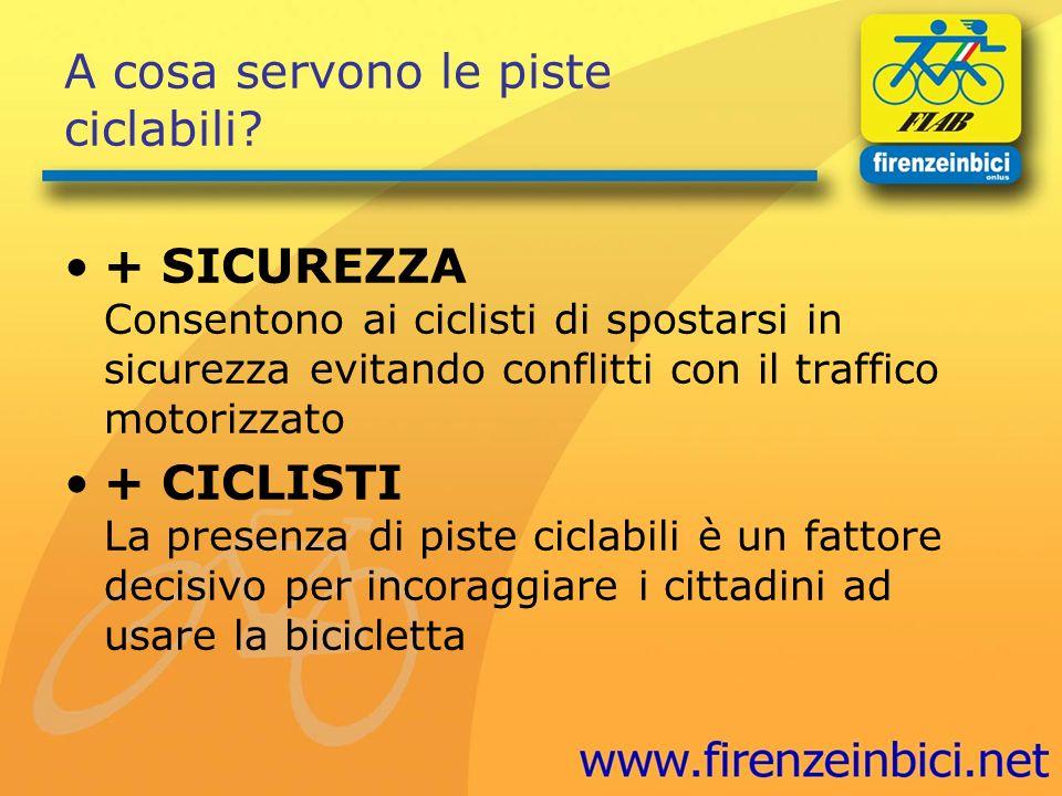 A cosa servono le piste ciclabili? + SICUREZZA Consentono ai ciclisti di spostarsi in sicurezza evitando conflitti con il traffico motorizzato + CICLI