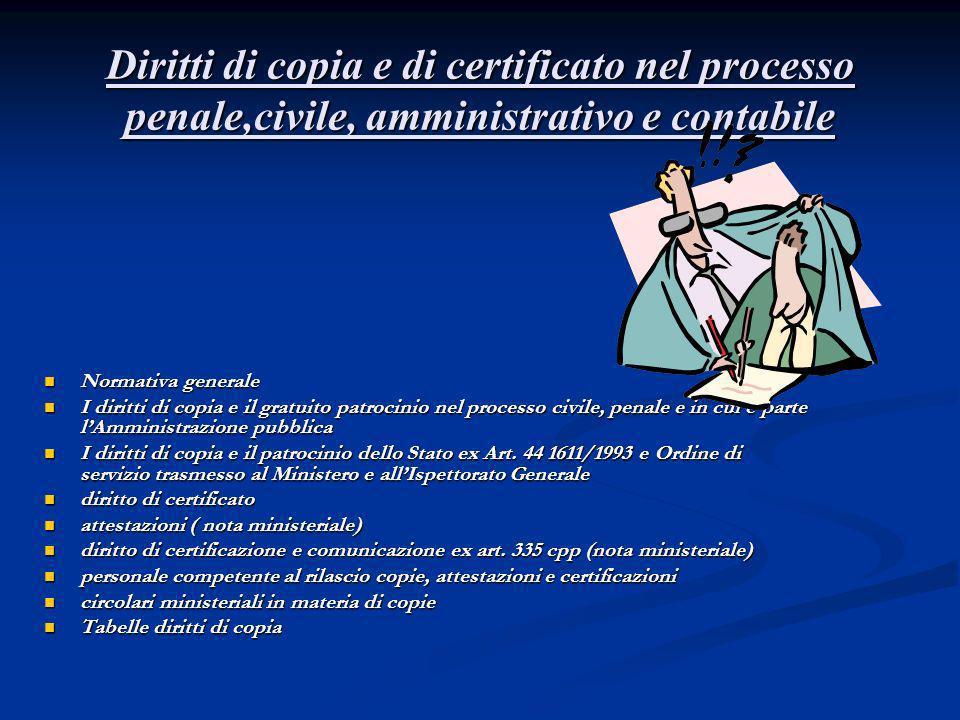 Diritti di copia e di certificato nel processo penale,civile, amministrativo e contabile Normativa generale Normativa generale I diritti di copia e il