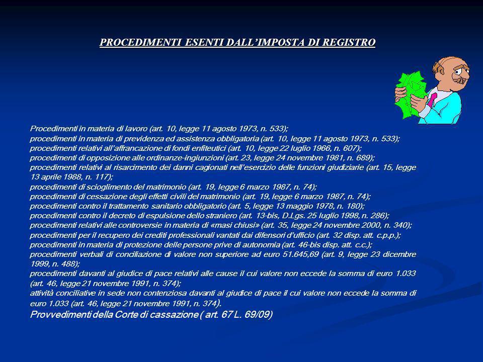 PROCEDIMENTI ESENTI DALLIMPOSTA DI REGISTRO Procedimenti in materia di lavoro (art. 10, legge 11 agosto 1973, n. 533); procedimenti in materia di prev