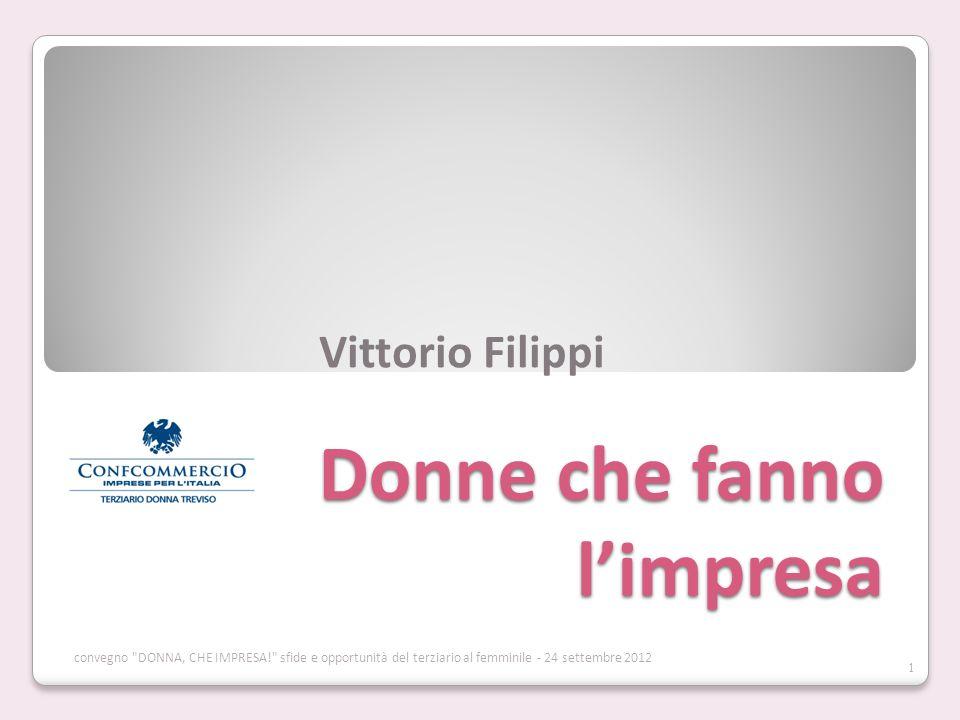 Donne che fanno limpresa Vittorio Filippi 1 convegno DONNA, CHE IMPRESA! sfide e opportunità del terziario al femminile - 24 settembre 2012