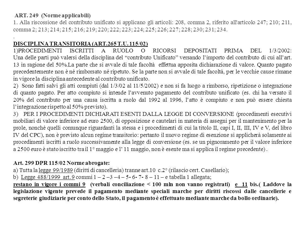 ART. 249 (Norme applicabili) 1. Alla riscossione del contributo unificato si applicano gli articoli: 208, comma 2, riferito all'articolo 247; 210; 211