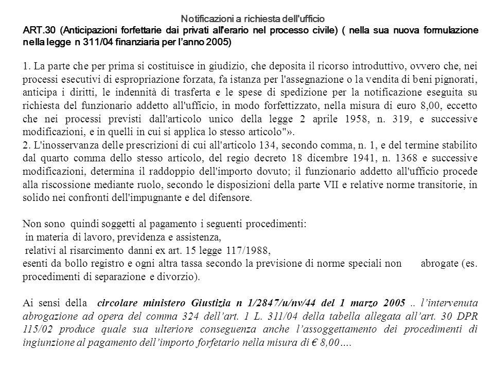 Notificazioni a richiesta dell'ufficio ART.30 (Anticipazioni forfettarie dai privati all'erario nel processo civile) ( nella sua nuova formulazione ne