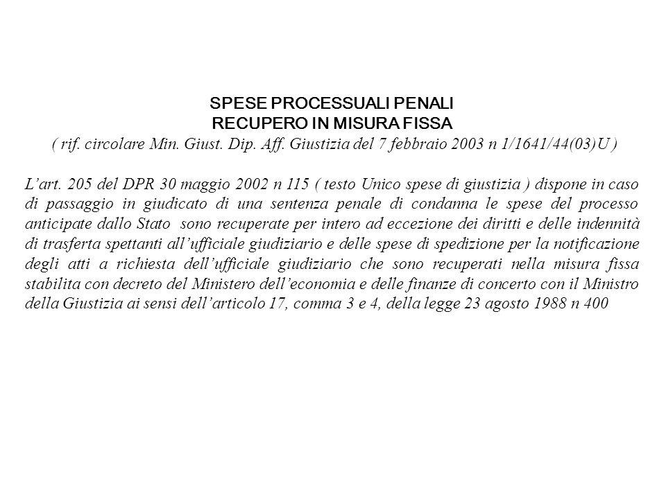 SPESE PROCESSUALI PENALI RECUPERO IN MISURA FISSA ( rif. circolare Min. Giust. Dip. Aff. Giustizia del 7 febbraio 2003 n 1/1641/44(03)U ) Lart. 205 de