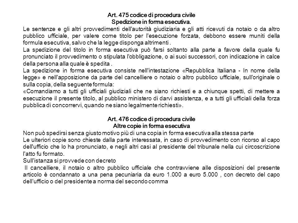Art. 475 codice di procedura civile Spedizione in forma esecutiva. Le sentenze e gli altri provvedimenti dell'autorità giudiziaria e gli atti ricevuti