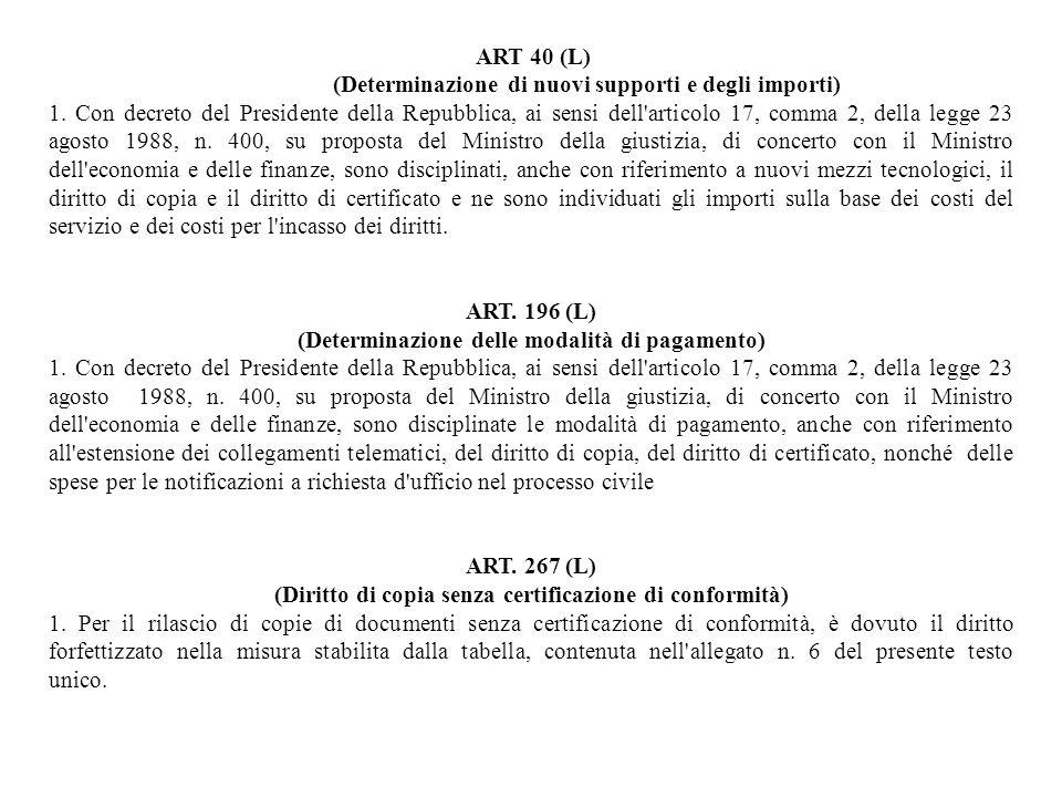 ART 40 (L) (Determinazione di nuovi supporti e degli importi) 1. Con decreto del Presidente della Repubblica, ai sensi dell'articolo 17, comma 2, dell