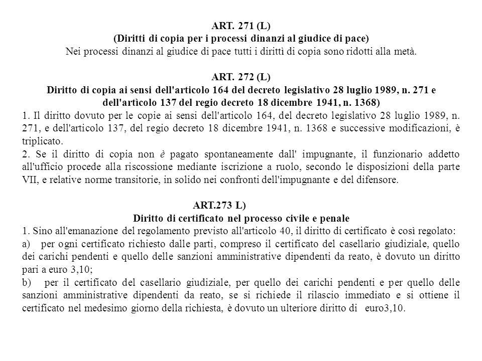 ART. 271 (L) (Diritti di copia per i processi dinanzi al giudice di pace) Nei processi dinanzi al giudice di pace tutti i dirittì di copia sono ridott
