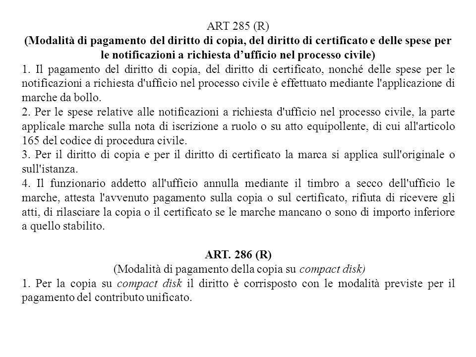 ART 285 (R) (Modalità di pagamento del diritto di copia, del diritto di certificato e delle spese per le notificazioni a richiesta dufficio nel proces