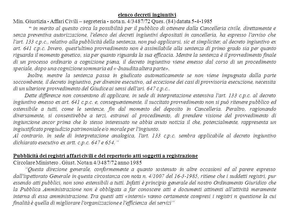 elenco decreti ingiuntivi Min. Giustizia - Affari Civili – segreteria - nota n. 4/3487/72 Ques. (84) datata 5-4-1985 in merito al quesito circa la pos