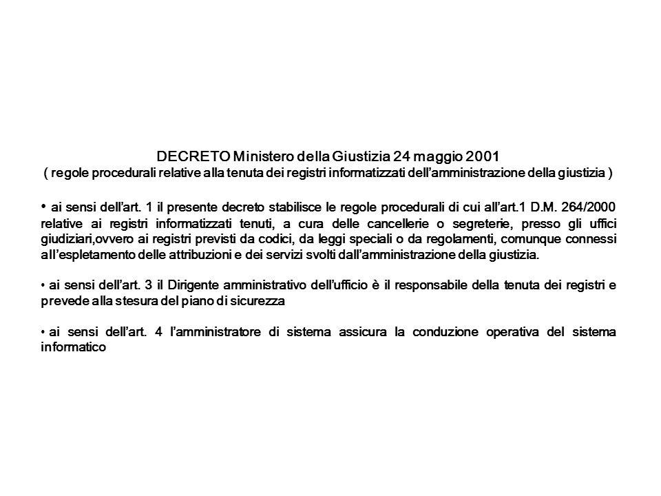 DECRETO Ministero della Giustizia 24 maggio 2001 ( regole procedurali relative alla tenuta dei registri informatizzati dellamministrazione della giust