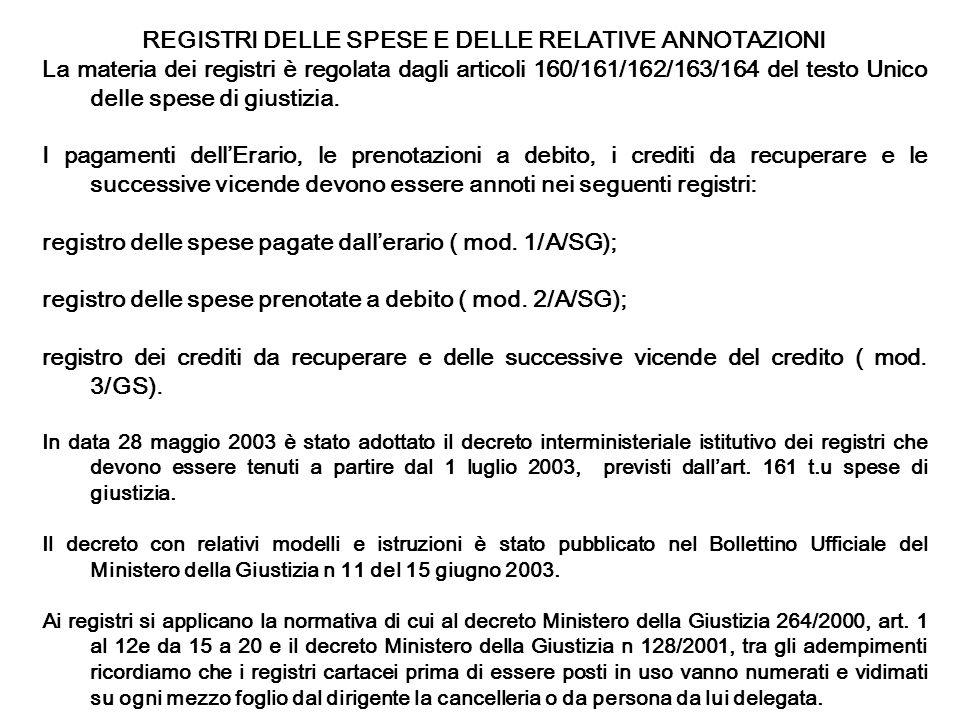 REGISTRI DELLE SPESE E DELLE RELATIVE ANNOTAZIONI La materia dei registri è regolata dagli articoli 160/161/162/163/164 del testo Unico delle spese di