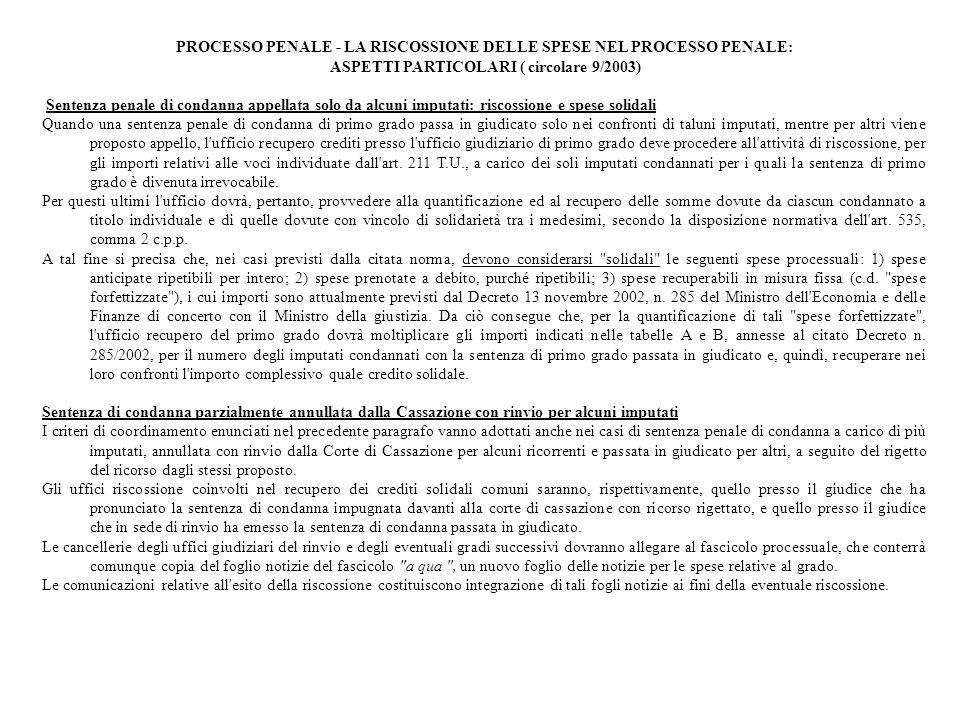 PROCESSO PENALE - LA RISCOSSIONE DELLE SPESE NEL PROCESSO PENALE: ASPETTI PARTICOLARI ( circolare 9/2003) Sentenza penale di condanna appellata solo d