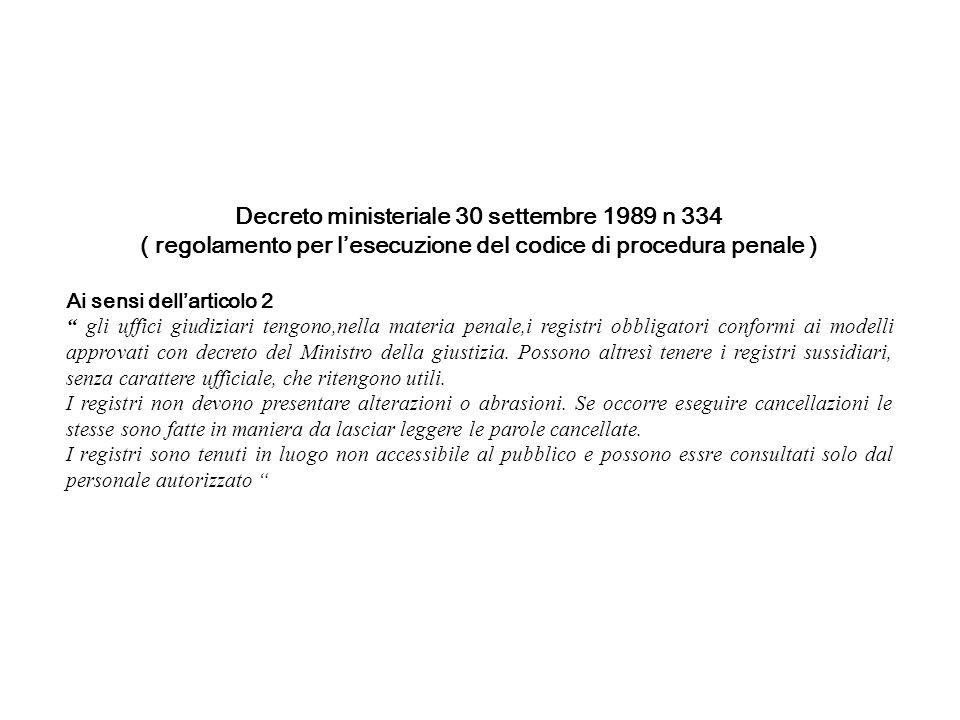 Decreto ministeriale 30 settembre 1989 n 334 ( regolamento per lesecuzione del codice di procedura penale ) Ai sensi dellarticolo 2 gli uffici giudizi