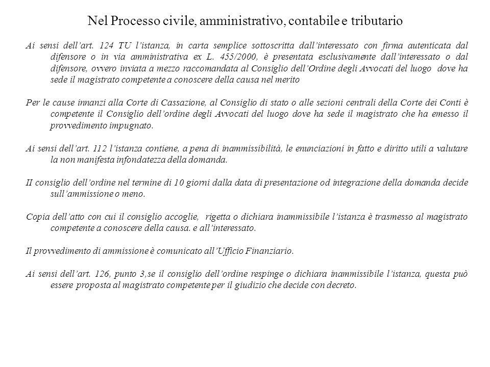 Nel Processo civile, amministrativo, contabile e tributario Ai sensi dellart. 124 TU listanza, in carta semplice sottoscritta dallinteressato con firm