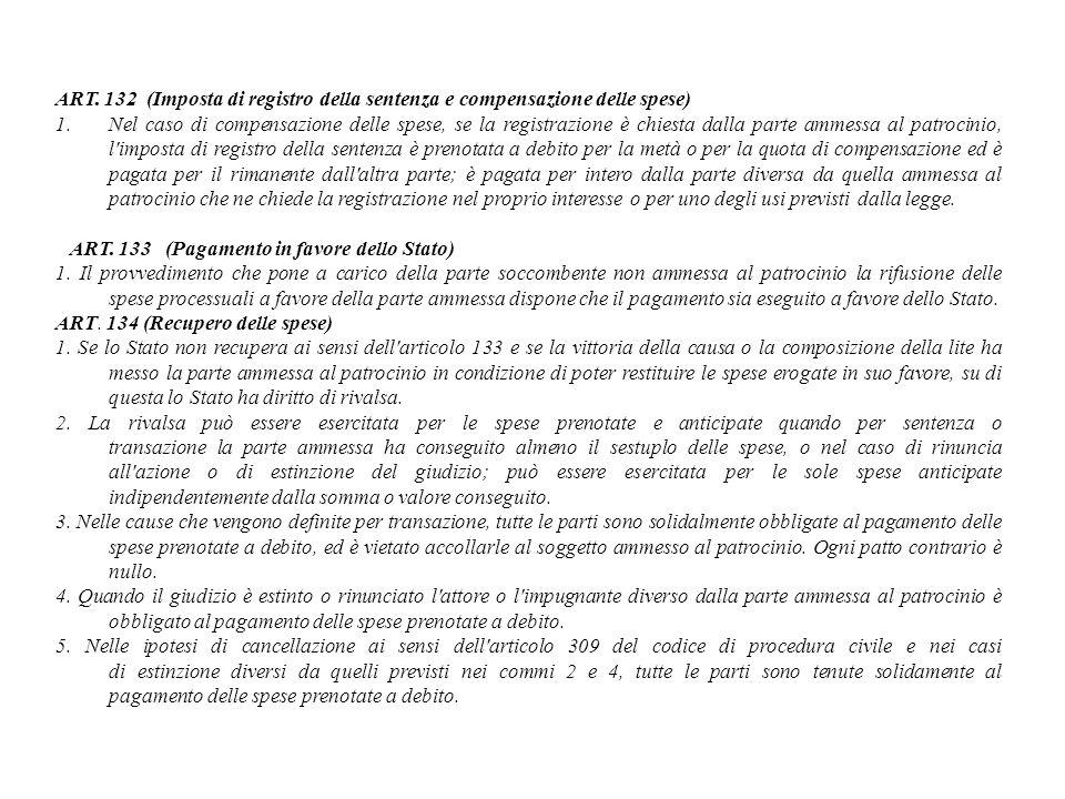 ART. 132 (Imposta di registro della sentenza e compensazione delle spese) 1.Nel caso di compensazione delle spese, se la registrazione è chiesta dalla