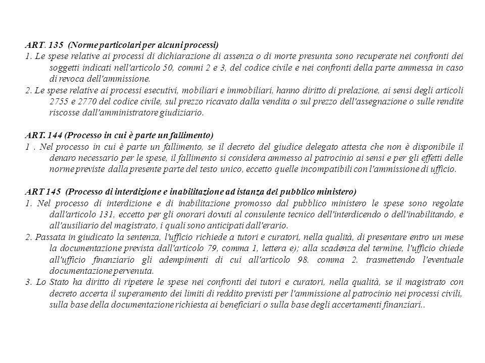 ART. 135 (Norme particolari per alcuni processi) 1. Le spese relative ai processi di dichiarazione di assenza o di morte presunta sono recuperate nei