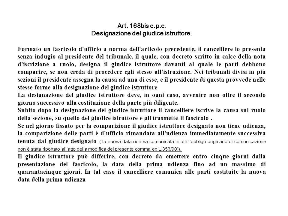 Art. 168bis c.p.c. Designazione del giudice istruttore. Formato un fascicolo d'ufficio a norma dell'articolo precedente, il cancelliere lo presenta se