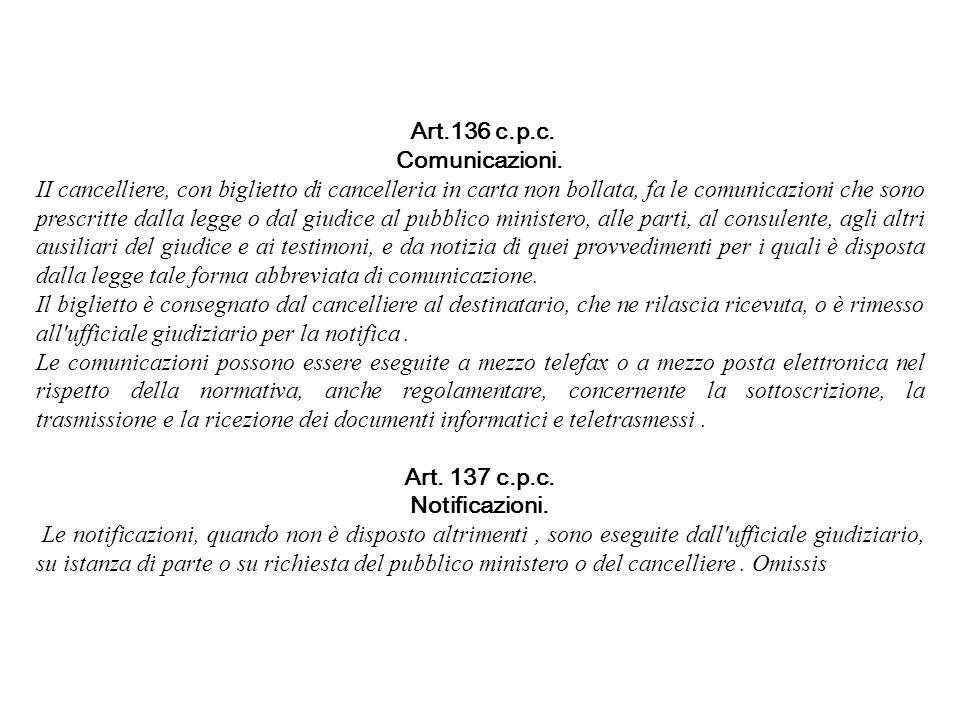 Art.136 c.p.c. Comunicazioni. II cancelliere, con biglietto di cancelleria in carta non bollata, fa le comunicazioni che sono prescritte dalla legge o