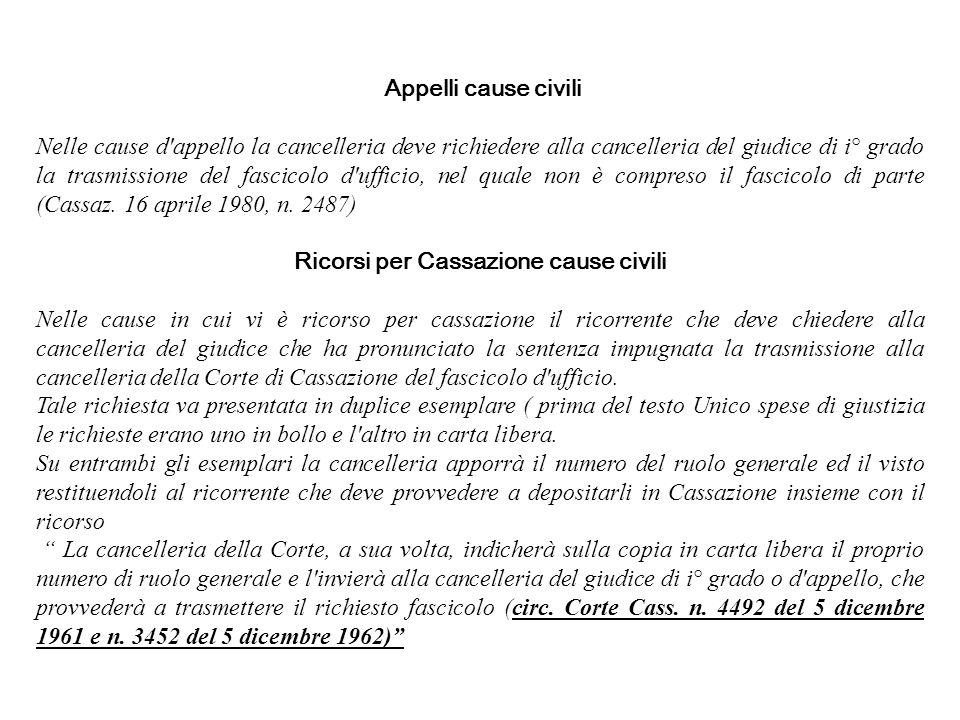 Appelli cause civili Nelle cause d'appello la cancelleria deve richiedere alla cancelleria del giudice di i° grado la trasmissione del fascicolo d'uff