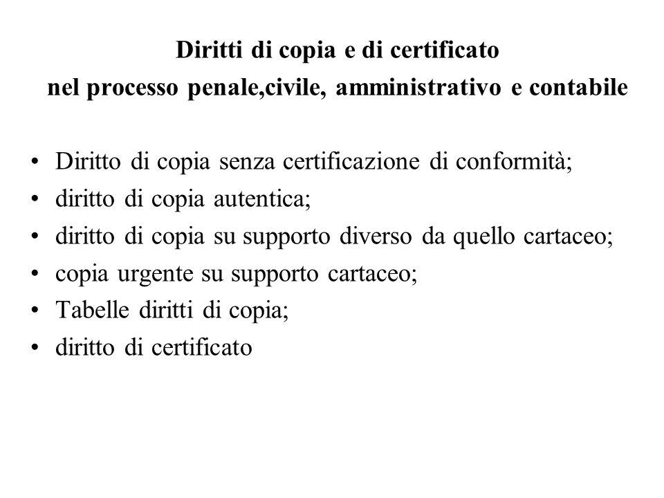 Diritti di copia e di certificato nel processo penale,civile, amministrativo e contabile Diritto di copia senza certificazione di conformità; diritto