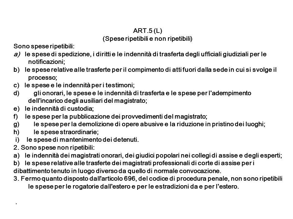 ART.5 (L) (Spese ripetibili e non ripetibili) Sono spese ripetibili: a) le spese di spedizione, i diritti e le indennità di trasferta degli ufficiali