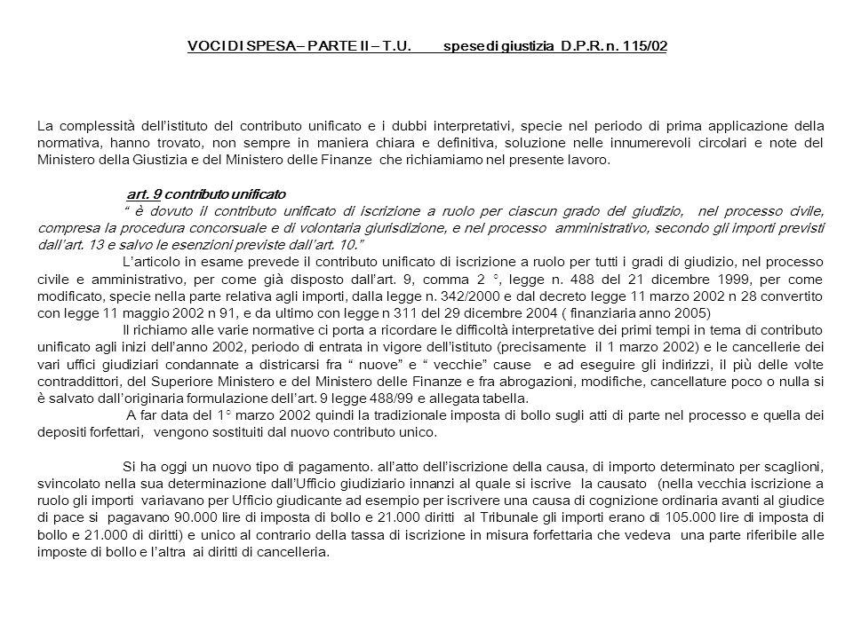 VOCI DI SPESA – PARTE II – T.U. spese di giustizia D.P.R. n. 115/02 La complessità dellistituto del contributo unificato e i dubbi interpretativi, spe