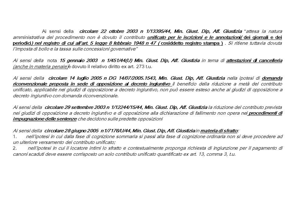 Ai sensi della circolare 22 ottobre 2003 n 1/13395/44, Min. Giust. Dip, Aff. Giustizia attesa la natura amministrativa del procedimento non è dovuto i