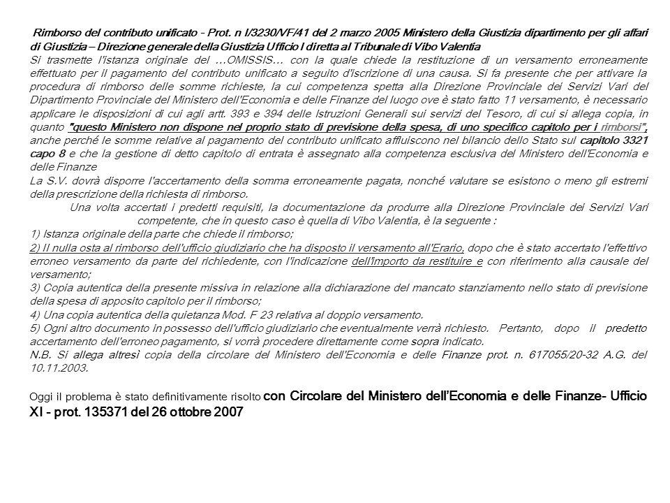 Rimborso del contributo unificato - Prot. n I/3230/VF/41 del 2 marzo 2005 Ministero della Giustizia dipartimento per gli affari di Giustizia – Direzio