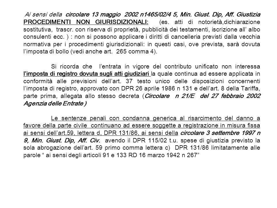 Ai sensi della circolare 13 maggio 2002 n1465/02/4 5, Min. Giust. Dip, Aff. Giustizia PROCEDIMENTI NON GIURISDIZIONALI: (es. atti di notorietà,dichiar