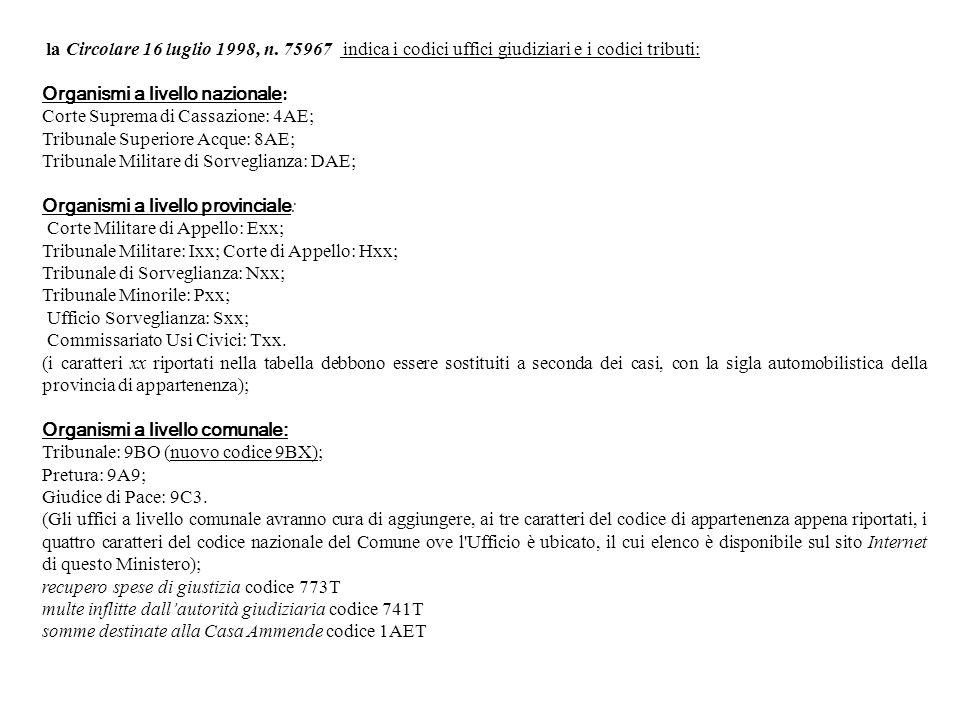 la Circolare 16 luglio 1998, n. 75967 indica i codici uffici giudiziari e i codici tributi: Organismi a livello nazionale : Corte Suprema di Cassazion