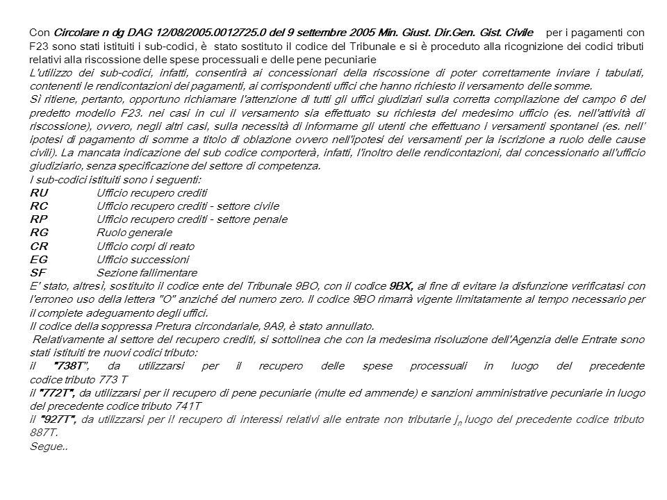 Con Circolare n dg DAG 12/08/2005.0012725.0 del 9 settembre 2005 Min. Giust. Dir.Gen. Gist. Civile per i pagamenti con F23 sono stati istituiti i sub-