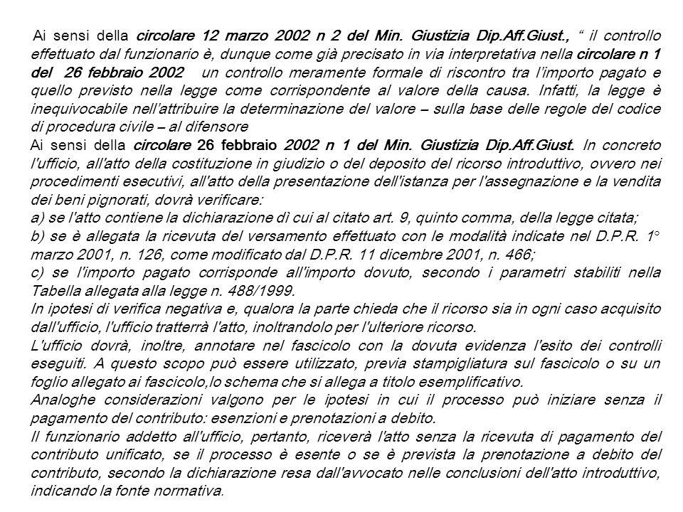 Ai sensi della circolare 12 marzo 2002 n 2 del Min. Giustizia Dip.Aff.Giust., il controllo effettuato dal funzionario è, dunque come già precisato in