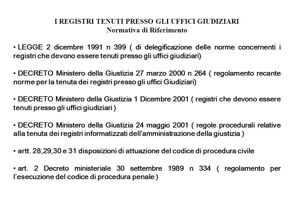 I REGISTRI TENUTI PRESSO GLI UFFICI GIUDIZIARI Normativa di Riferimento LEGGE 2 dicembre 1991 n 399 ( di delegificazione delle norme concernenti i reg