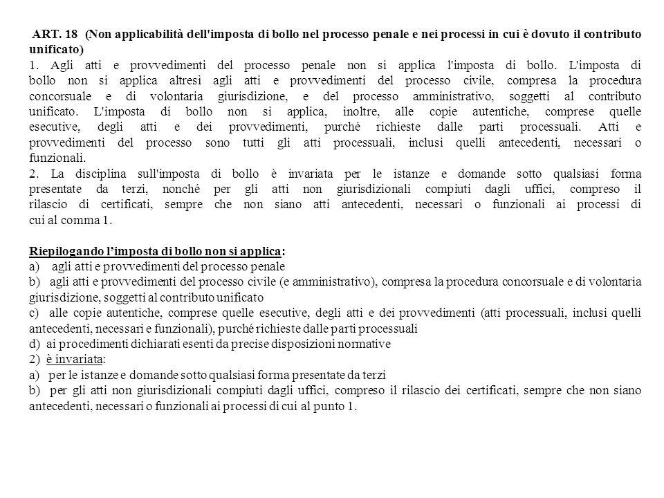 ART. 18 (Non applicabilità dell'imposta di bollo nel processo penale e nei processi in cui è dovuto il contributo unificato) 1. Agli atti e provvedime