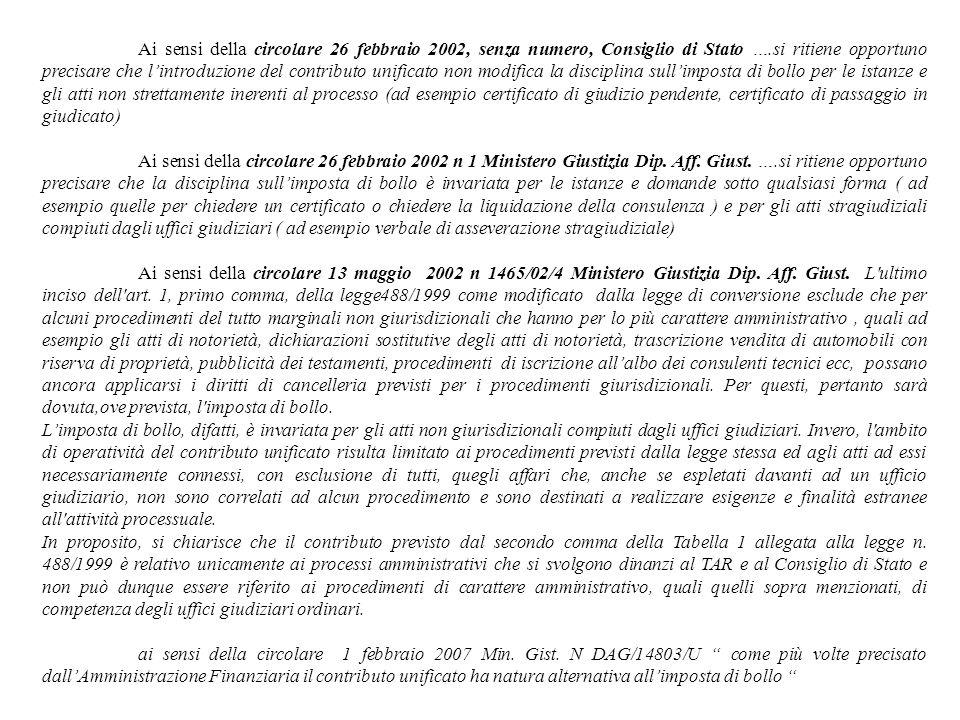 Ai sensi della circolare 26 febbraio 2002, senza numero, Consiglio di Stato ….si ritiene opportuno precisare che lintroduzione del contributo unificat