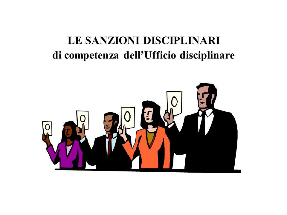 LE SANZIONI DISCIPLINARI di competenza dellUfficio disciplinare
