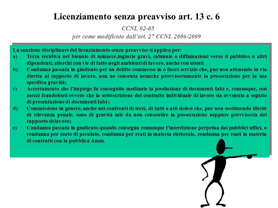 Licenziamento senza preavviso art.13 c. 6 CCNL 02-05 per come modificato dallart.
