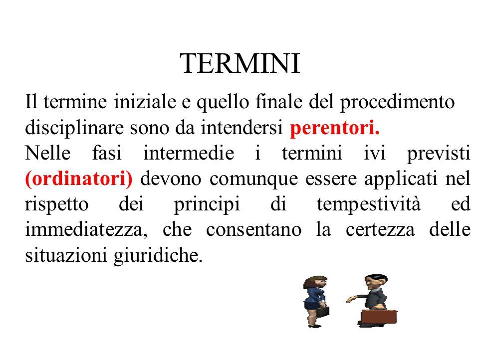 Il termine iniziale e quello finale del procedimento disciplinare sono da intendersi perentori.