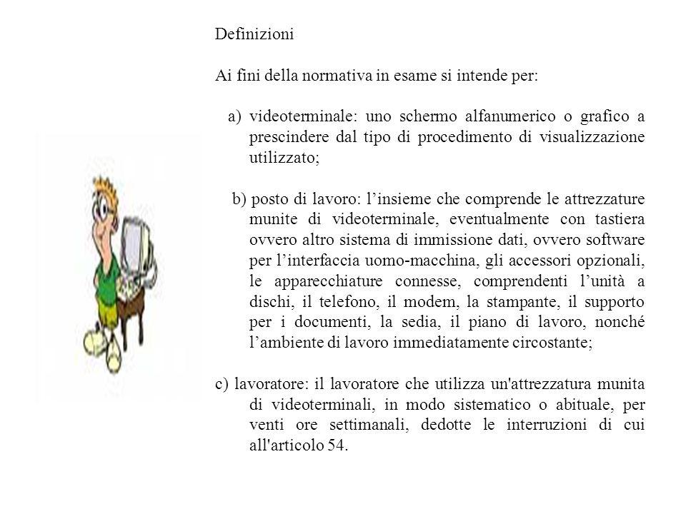 Definizioni Ai fini della normativa in esame si intende per: a) videoterminale: uno schermo alfanumerico o grafico a prescindere dal tipo di procedime