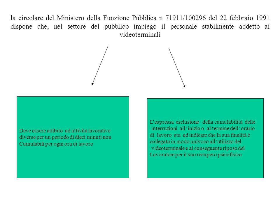 la circolare del Ministero della Funzione Pubblica n 71911/100296 del 22 febbraio 1991 dispone che, nel settore del pubblico impiego il personale stab