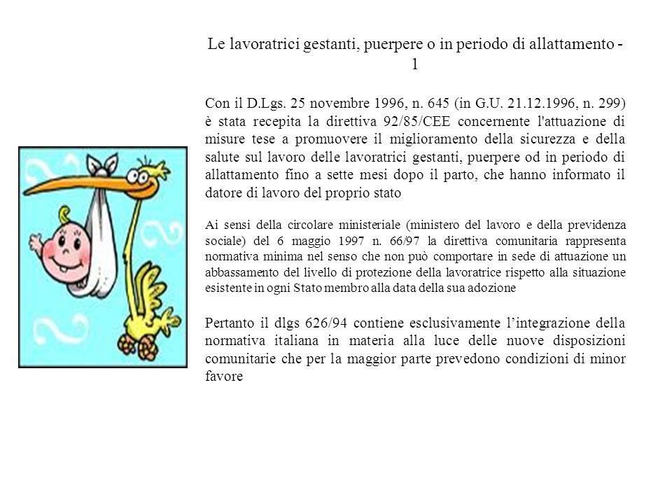 Le lavoratrici gestanti, puerpere o in periodo di allattamento - 1 Con il D.Lgs. 25 novembre 1996, n. 645 (in G.U. 21.12.1996, n. 299) è stata recepit