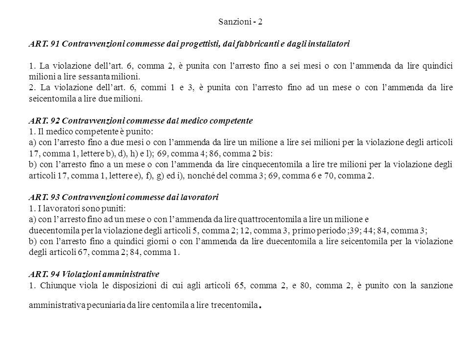 Sanzioni - 2 ART. 91 Contravvenzioni commesse dai progettisti, dai fabbricanti e dagli installatori 1. La violazione dellart. 6, comma 2, è punita con