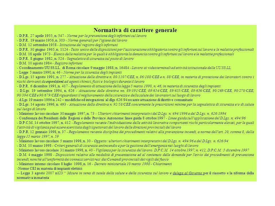 Normativa di carattere generale - D.P.R. 27 aprile 1955, n. 547 - Norme per la prevenzione degli infortuni sul lavoro - D.P.R. 19 marzo 1956, n. 303 -
