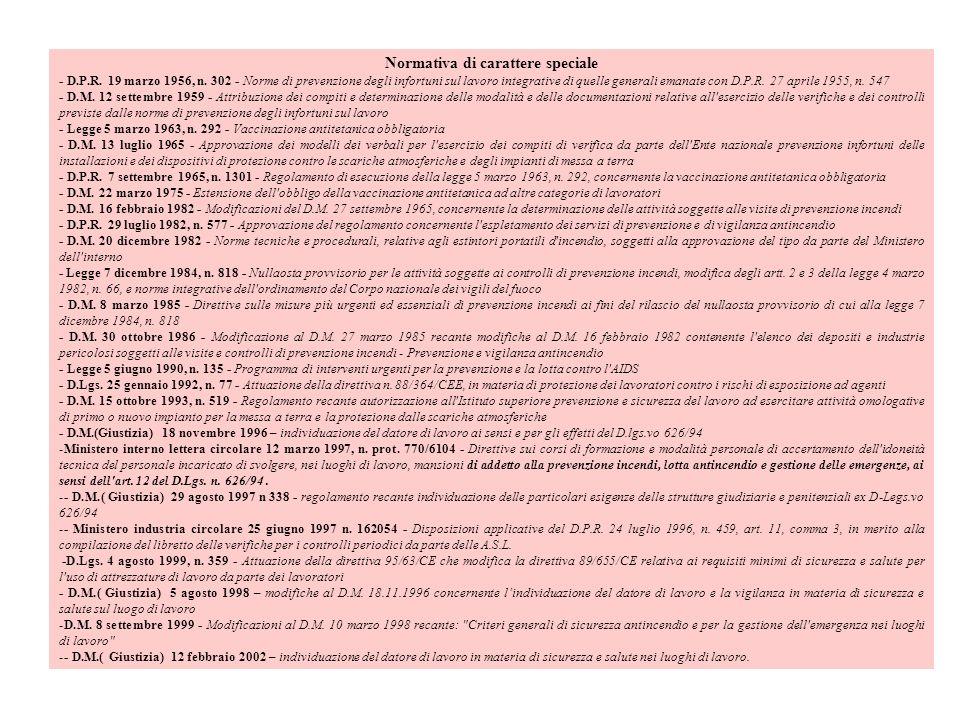 Normativa di carattere speciale - D.P.R. 19 marzo 1956, n. 302 - Norme di prevenzione degli infortuni sul lavoro integrative di quelle generali emanat