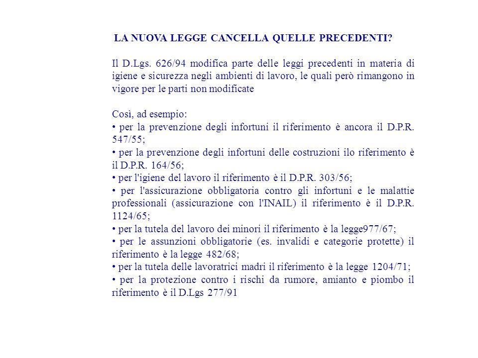 LA NUOVA LEGGE CANCELLA QUELLE PRECEDENTI? Il D.Lgs. 626/94 modifica parte delle leggi precedenti in materia di igiene e sicurezza negli ambienti di l