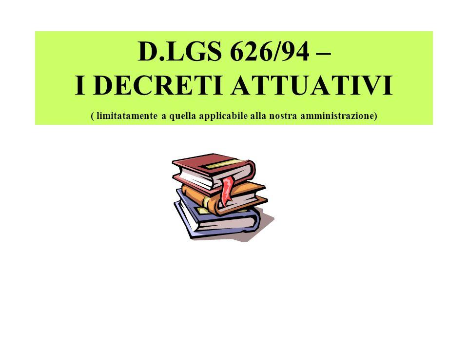 D.LGS 626/94 – I DECRETI ATTUATIVI ( limitatamente a quella applicabile alla nostra amministrazione)